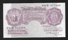 1940 - Peppiatt 10/- Ten Shilling Note - GEF - U62D 377268 -  B251 - SN9177