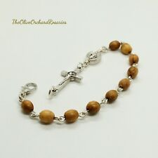 Handmade Holy Land Olive Wood Beads Miraculous Medal St Benedict Rosary Bracelet