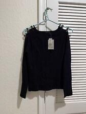 Gill Amour Size M Blouse Black  Leather Shoulder Design Long Sleeve