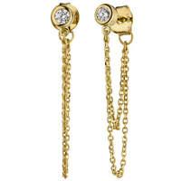 Ohrhänger Hängerstecker mit Kettchen Zirkonia 925 Silber gelbvergoldet Ohrringe
