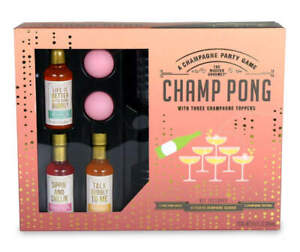 Champ Pong Champagne Party Game w/3 Toppers, 12 Glasses & 2 Ping Pongs Balls