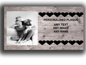 Personalised Photo Plaque | Any Text  Metal  TIN Sign Gift Special Friendship