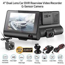 "4"" Dual Lens HD 1080P Car DVR Rearview Video Dash Cam Recorder Camera G-sensor"