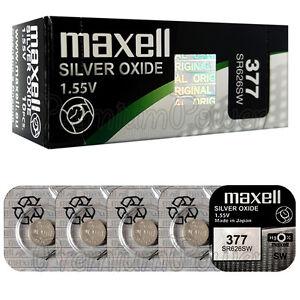 5 x Maxell 377 Silver Oxide batteries 1.55V SR66 SR626SW 376 Watches 0% Mercury