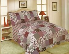 DOUBLE SIZE RESTMOR MULTI PURPLE PATCHWORK CHECK QUILTED BEDSPREAD THROW ONLY