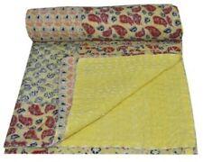 Indian Cotton Reversible Patchwork Handmade Kantha Quilt Bedspread Blanket Gudri