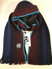 Paul Smith Men Scarf Gradient Wool Made In Germany Navy