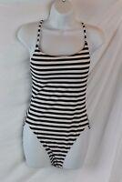 J.Crew $118 Women's Tie-Back One Piece Swimsuit Stripe Navy Blue 12 H7602 NWT