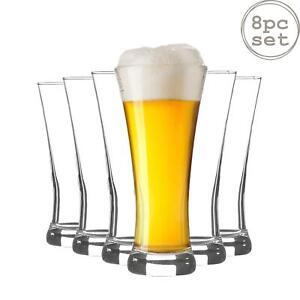 Pilsner Beer Glasses Set of 8 Dinner Glassware 380ml Clear