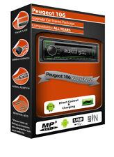 PEUGEOT 106 Autoradio Stereo, Kenwood cd mp3 lettore con ANTERIORE USB AUX