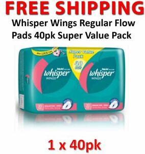 Whisper Wings Regular Flow Pads 40pk Super Value Pack