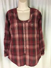 Wrangler No Collar Plaid Button Front Long Sleeve Blouse Adjustable Sleeve Sz  M