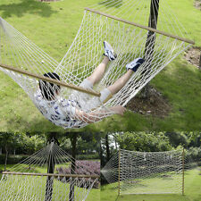 """78""""x 59""""Comfortable White Cotton Rope Swing Double Hammock Hanging 2 Person"""