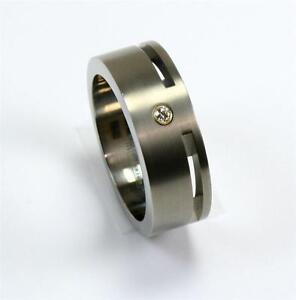 EDWARD MIRELL GRAY TITANIUM .03CT DIAMOND 18K GOLD MENS WEDDING BAND RING Sz10.5