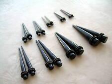 Black Ear Plug Taper  14g 12g 10g 8g 6g 4g 2g 0g 00g Expander Stretcher Kit Set