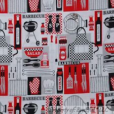 BonEful Fabric FQ Cotton Quilt White Black Red Apron BBQ Cook Chef Grill Kitchen