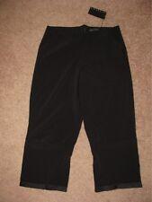 ELM DESIGN BLACK LOOSE WIDE LEG RUCHED DRESS PANTS CAPRIS RUFFLE HEM NWT 1