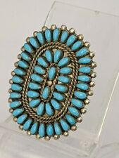 P. & V. By Joe American Indian Ring ~ Navajo ~ Sterling Petit Point Turquoise