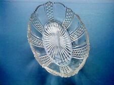 VINTAGE PRESSED GLASS OVAL DISH UNSIGNED