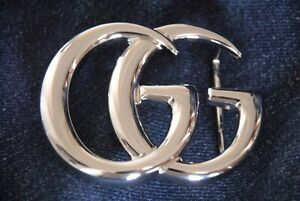 Authentic Large GUCCI Marmont GG Shiny Silver Belt Buckle Accessory Italy