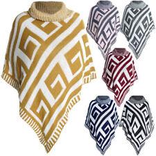 Geometrische Damen-Pullover & -Strickware im Ponchos-Stil mit mittlerer Bundhöhe
