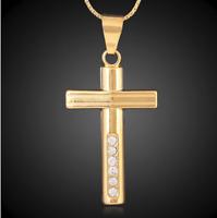 18k GoldKette MIT Kreuz Anhänger vergoldet Herren Damen Jesus Kette Edelstahl G3