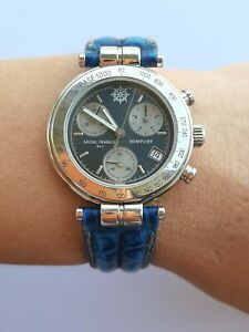 MICHEL HERBELIN WATCH NEWPORT 34453 CHRONOGRAPH QUARTZ LADY 32mm MADE IN FRANCE
