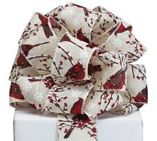 1 yard red cardinal on branch with snowflakes christmas wire edge ribbon 25