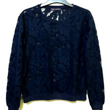 M&S collection lace navy floral top