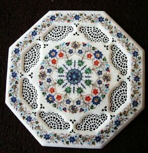 """24"""" Marble Dining Table Top Inlay Rare Semi Antique Center Coffee Table AR0802"""