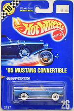 HOT WHEELS 1990 BLUE CARD '65 MUSTANG CONVERTIBLE #26 METALFLAKE BLUE 03