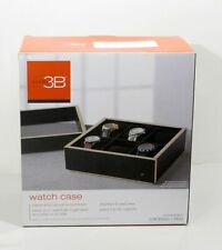 NIB Six (6) Slot Watch Box Glass Top Display Jewelry Storage Valet by Studio 3B