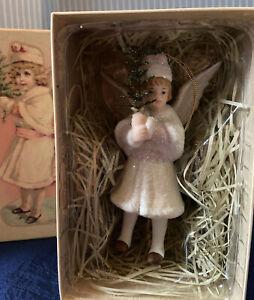 VTG CHRISTMAS 1 VICTORIAN Porcelain Angel Glitter Ornament in  BOXE