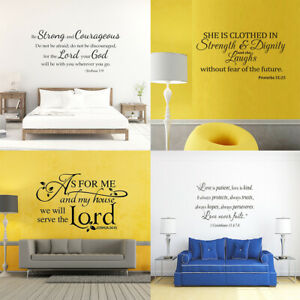 Large Bible Verse Wall Decals Vinyl Sticker Christian Quote Home Removable Decor