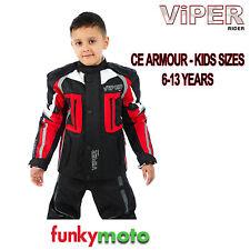 VIPER ENFANTS ROUGE NOIR VESTE MOTO CE BLINDAGE MOTO ENFANT ADOLESCENT TEXTILE