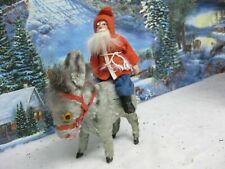 Antique German Santa Riding Windup Donkey Ears Tail move ( 78)