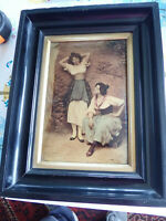 1904 Franz Hanfstaengl Crystoleum Hand Painted by Eugene de Blaas French Maidens