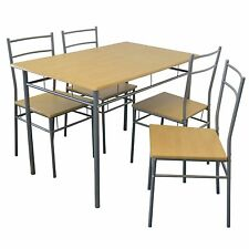 Harbour Housewares Rectangular Wooden Kitchen Dining Table with Chairs - Silver