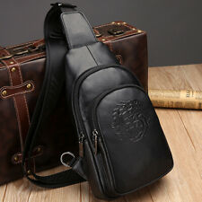 Sling Backpack Men's Genuine Leather Crossbody Chest Bag Sling Shoulder Bag