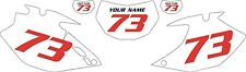 2007-2011 Yamaha WR450F Custom Pre-Printed White Backgrounds with Red Numbers