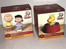 PEANUTS CHARLIE BROWN AND LUCY, WOODSTOCK CERAMIC SALT & PEPPER SHAKERS IN BOX