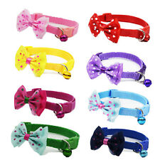8PCS Lot Wholesale Puppy Cat Doggie Collar W/ Bell Adjustable Nylon Buckle Gift