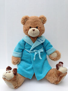 "Bounce Back Jack Bear Plush Stuffed Brown Get Well Soon 16"" Blue Robe Rare"
