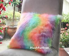 faux fur pillow 18x18 Rainbow cushion luxurious shaggy fur throw sofa decor