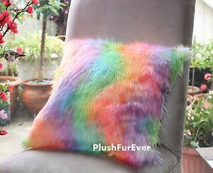 faux fur pillow 18x18 Rainbow cushion luxurious shaggy fur throw sofa decor