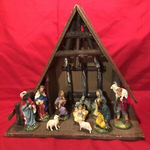 Vintage Nativity Set Christmas Manger Scene 10 pc Made In Italy w/Manger