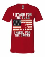 I Stand for the Flag I Kneel for the Cross V-Neck T-Shirt Patriot
