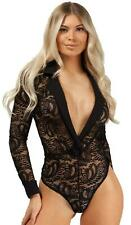 Leotard Bodysuit Floral Lace Bodies V-Neck Collar Long Sleeve Party Outfit Sexy