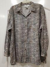 Womens Erin London 100% Soft Silk  Button Blouse Top Shirt Size 2X