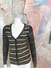 Charlotte Russe Grey Yellow Striped Womens Cardigan Sweater Size Small